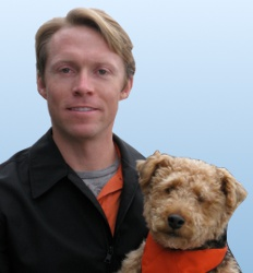 Picture of Patrick Mahaney and his dog Cardiff