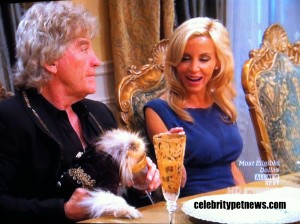 Photo of Kenneth Todd Camille Grammer Giggy Drinks from Champagne Glass CPN